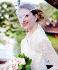 Voilette para noiva com flores e perolas