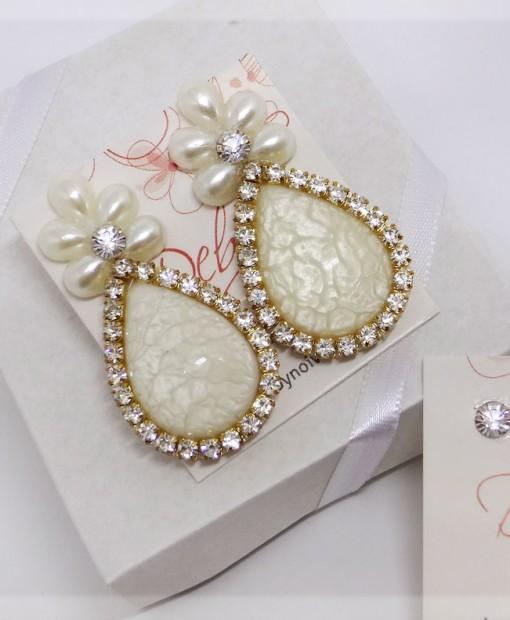 Brinco de noiva com cristais