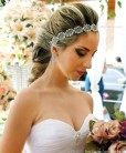 Tiara de noiva Paloma rendinha prateada