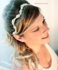 Tiara de pérolas para noivas dourada com pérolas brancas