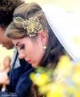 Tiara de noiva rendinha com flor dourada