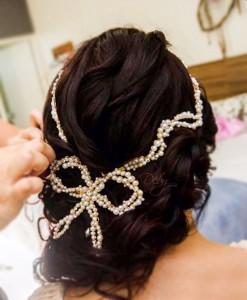 Tiara de noiva de pérolas boho com laço