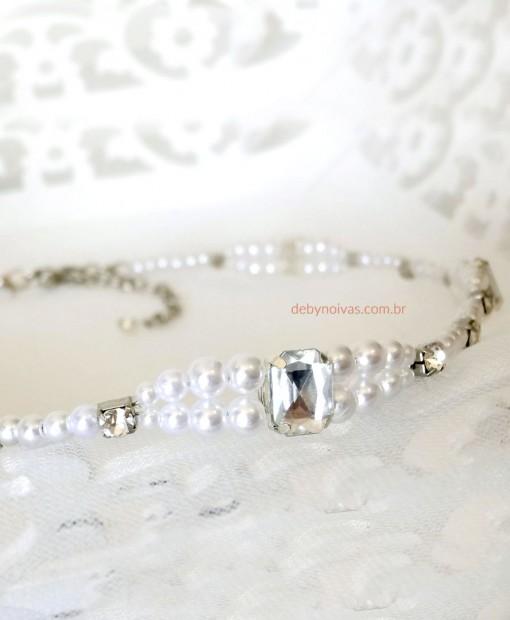 tiara de noiva cristais e perolas