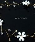 Tiara de noiva cristal com flor dourada