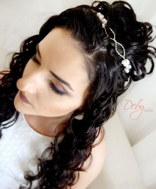 Tiara de noiva trançada com cristais